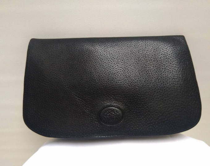 MULBERRY vintage 70s black leather clutch bag