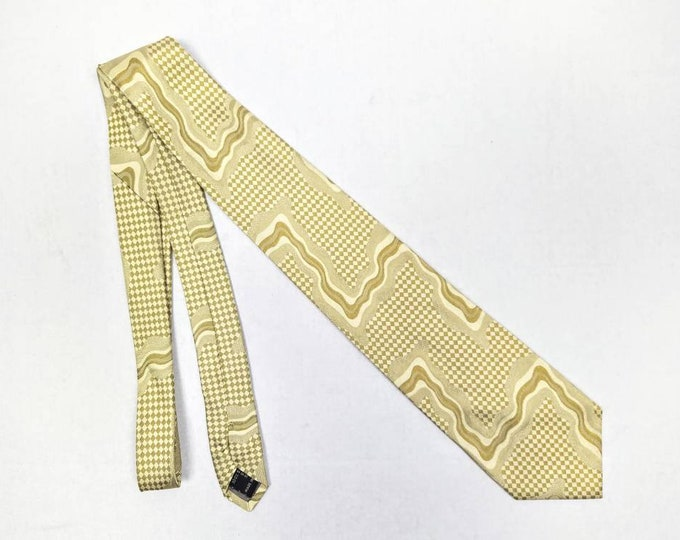 VERSUS by VERSACE vintage 90s old gold and ivory checkerboard silk tie