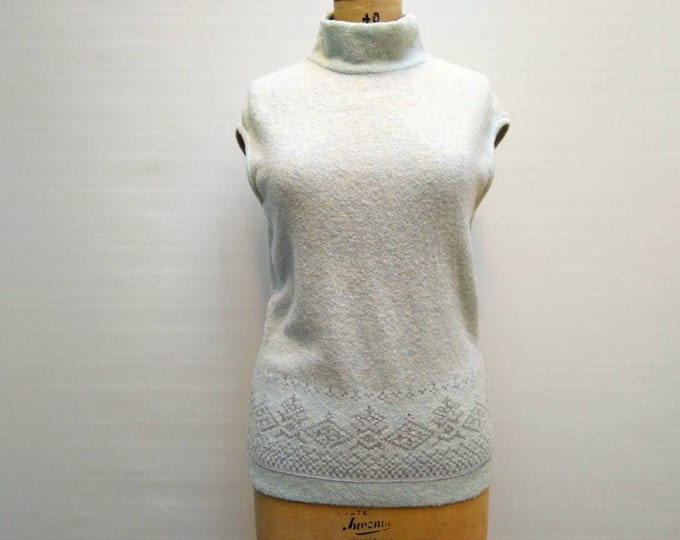 ESCADA vintage 90s ice blue and silver wool blend sleeveless turtleneck sweater