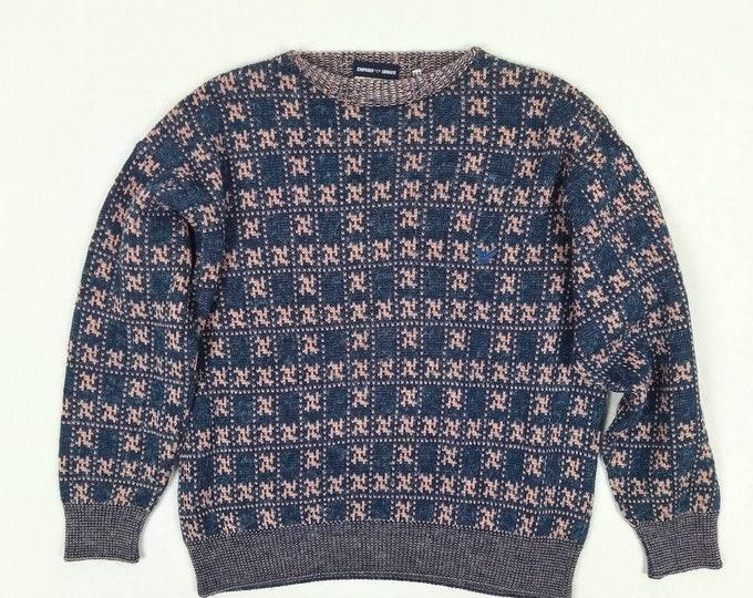 EMPORIO ARMANI vintage 80s men's blue & pink pattern sweater
