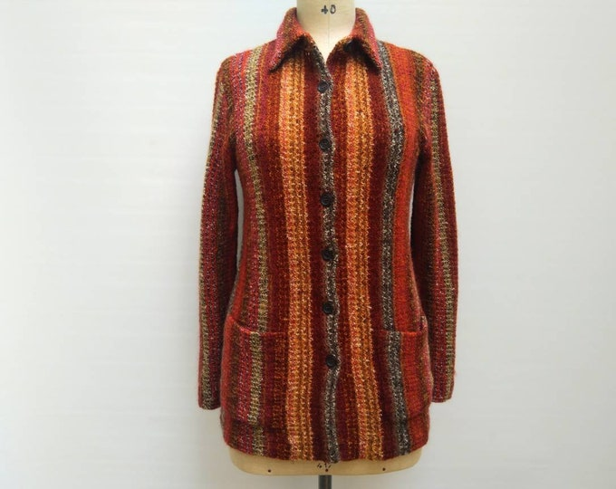 MISSONI vintage multicolor striped open knit cardigan