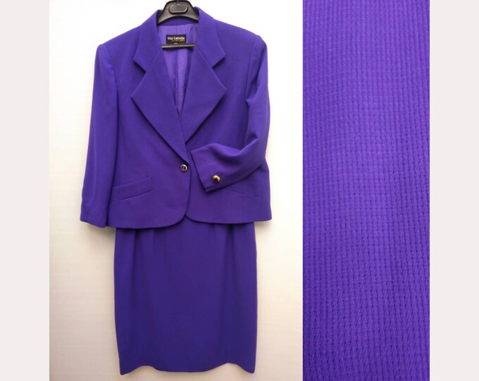 GUY LAROCHE vintage 90s violet waffle wool skirt suit -plus size