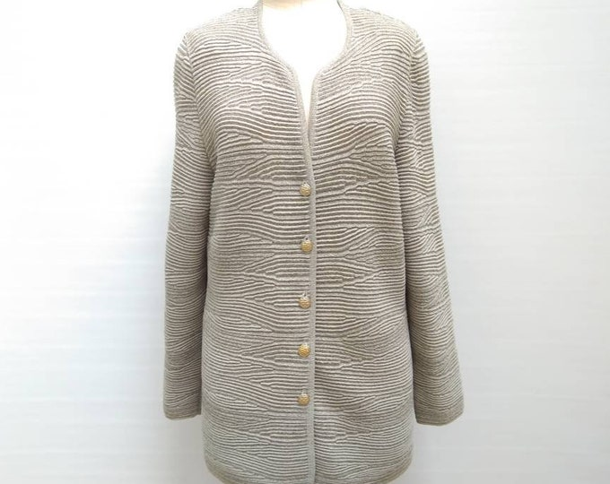 ESCADA MARGARETHA LEY vintage 80s sand metallic lurex textured knit cardigan sweater