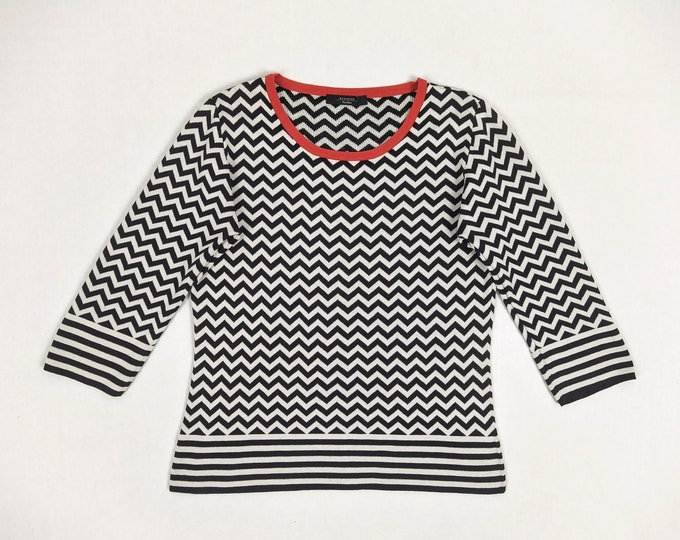 MAX MARA WEEKEND pre-owned black and white zig zag pattern cotton sweater