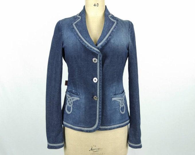 MOSCHINO JEANS vintage stonewashed denim jacket with applique