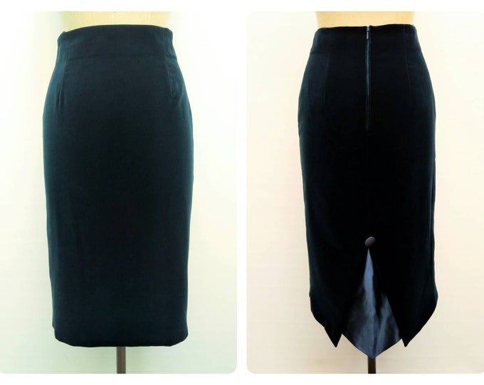VERA MONT vintage 80s teal green velvet swallow tail pencil skirt