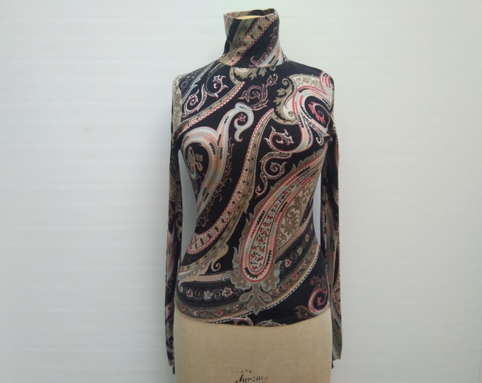 ETRO pre-owned paisley print silk and cashmere knit turtleneck sweater