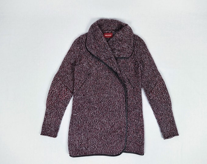 ZADIG & VOLTAIRE pre-owned wine/navy/grey melange alpaca knit cardi coat