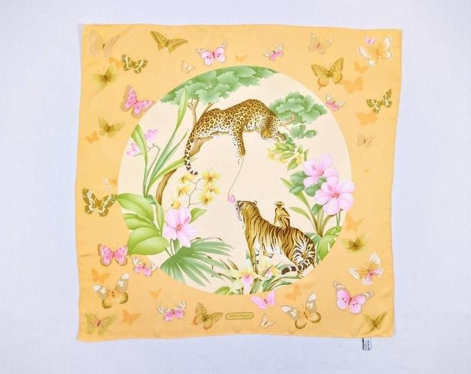 SALVATORE FERRAGAMO vintage butterflies and big cats print silk twill square scarf