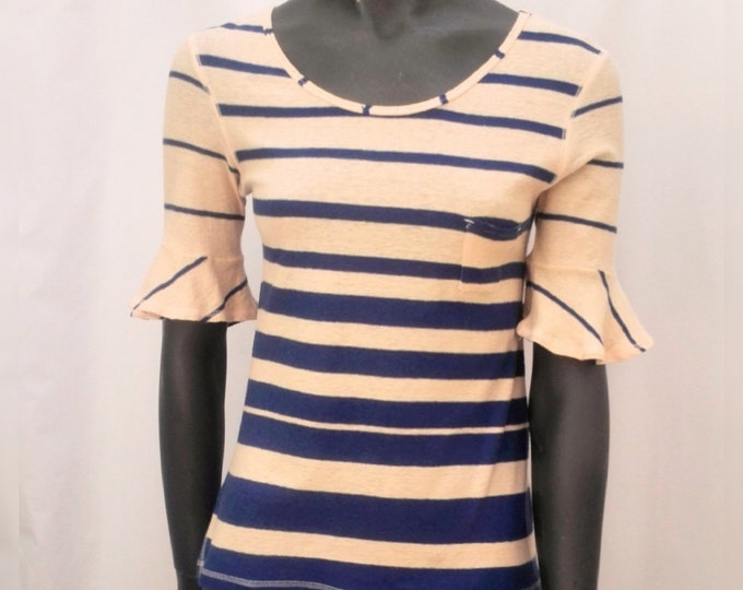 SONIA RYKIEL pre-owned pale peach and blue striped knit top
