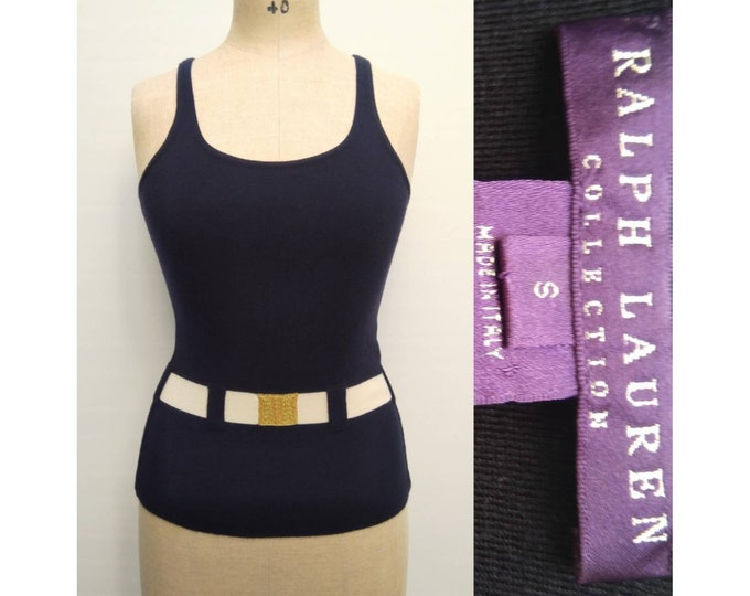 RALPH LAUREN COLLECTION vintage 90s navy trompe l'oeil cashmere tank top