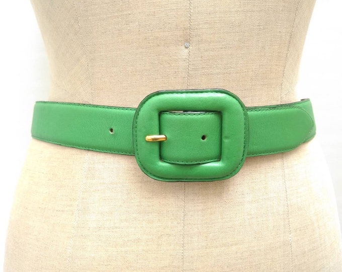YVES SAINT LAURENT vintage 80s grass green leather belt