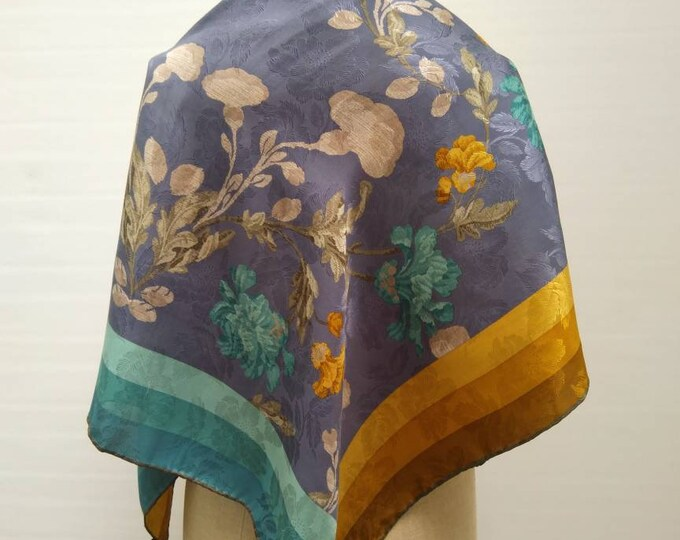 BALENCIAGA vintage 70s silk jacquard carre scarf