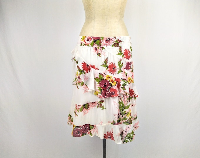 KENZO JEANS vintage floral silk chiffon tiered ruffled skirt