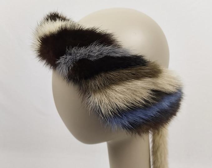 MINK FUR pre-owned striped headband