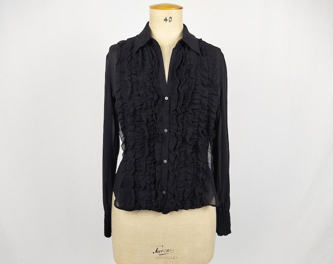LAUREL pre-owned sheer black silk chiffon ruffle blouse
