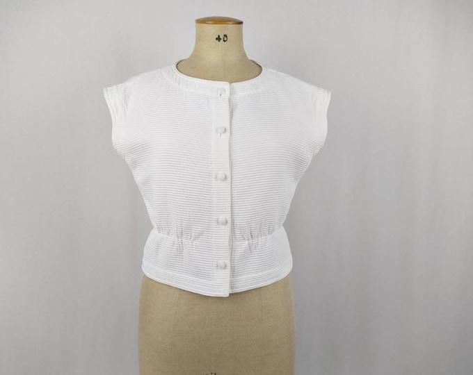 COURREGES vintage 90s white ribbed cotton sleeveless jacket