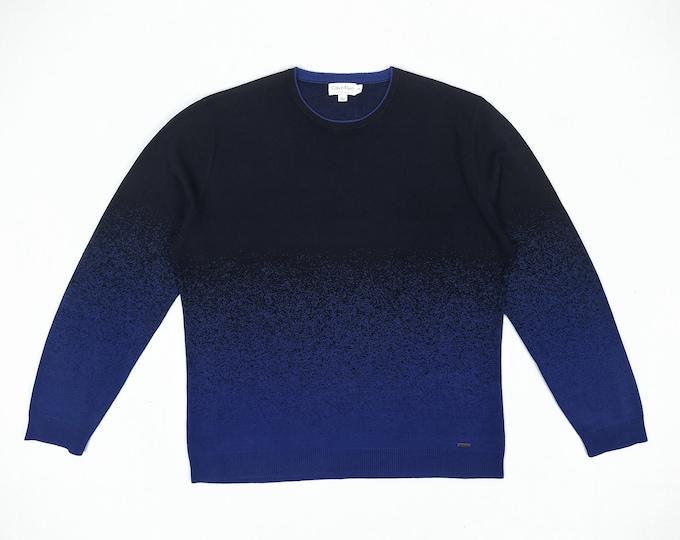 CALVIN KLEIN PREMIUM pre-owned men's navy/royal blue ombre silk sweater
