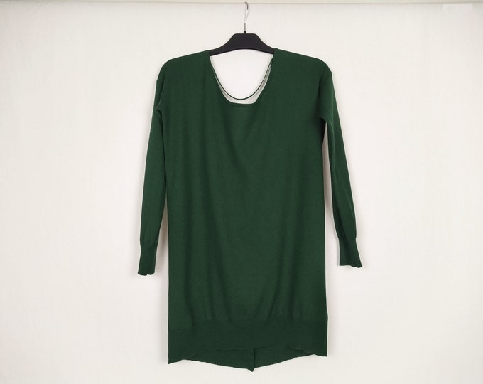 TWIN SET pre-owned hunter green cowl back sweater tunic