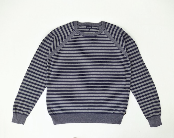 PAUL SMITH JEANS pre-owned men's blue grey striped cotton and wool sweater