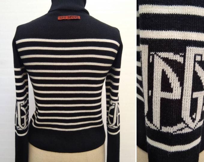 JEAN PAUL GAULTIER vintage 90s black and white striped logo turtleneck sweater