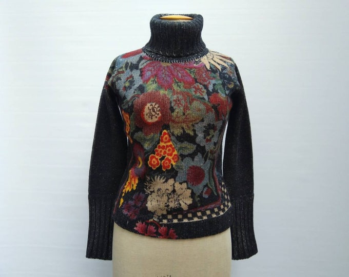 KENZO vintage 90s black and floral print wool knit sweater