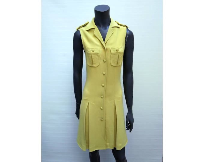 MOSCHINO COUTURE vintage 90s yellow crepe fitted button up dress