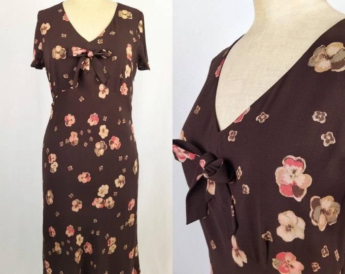 LAURA ASHLEY vintage 90s pansy print silk chiffon dress
