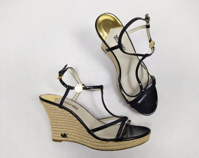MICHAEL KORS unworn black patent leather and jute wedge sandals