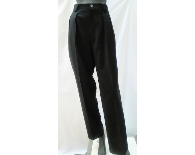 THIERRY MUGLER vintage 80s high waist black wool pants
