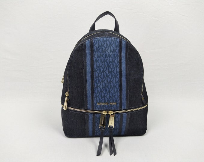 MICHAEL KORS pre-owned Rhea Medium navy logo denim and leather backpack