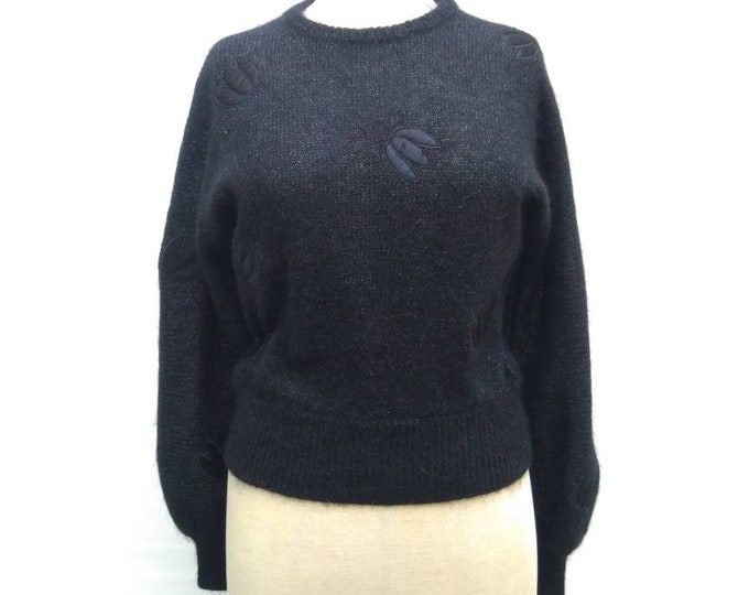 CHRISTIAN DIOR vintage 80s black mohair sweater with tulip appliques