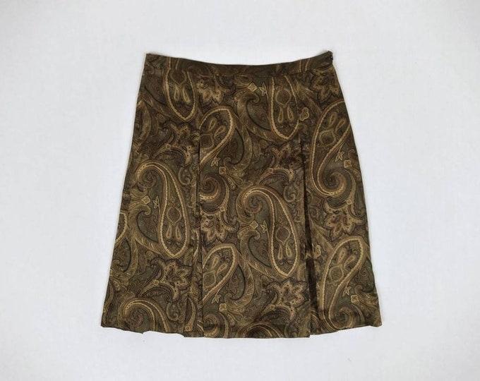 CELINE vintage 90s paisley print silk satin pleated skirt