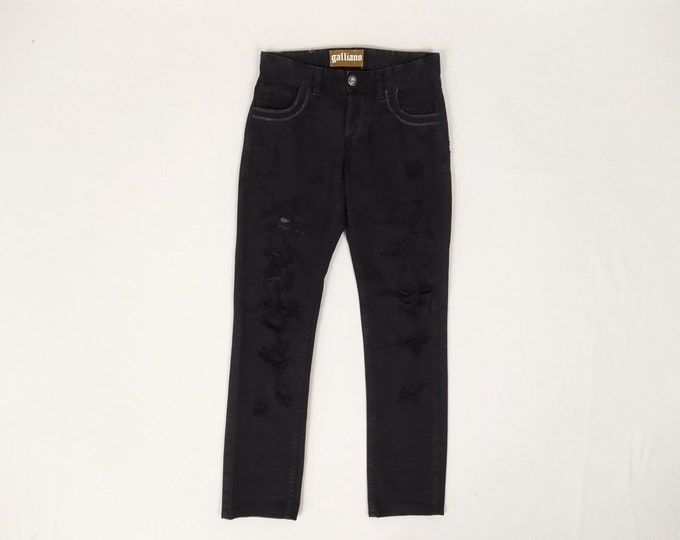 GALLIANO pre-owned men's black distressed jeans
