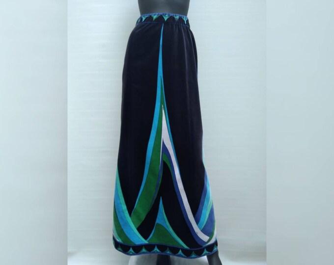 EMILIO PUCCI vintage 70s geometric signature print velvet maxi skirt