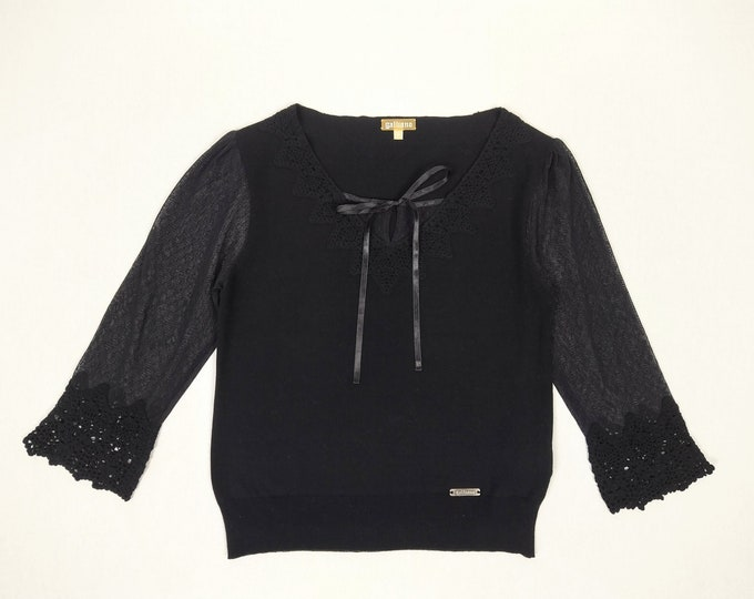 GALLIANO pre-owned black crochet trim cotton sweater