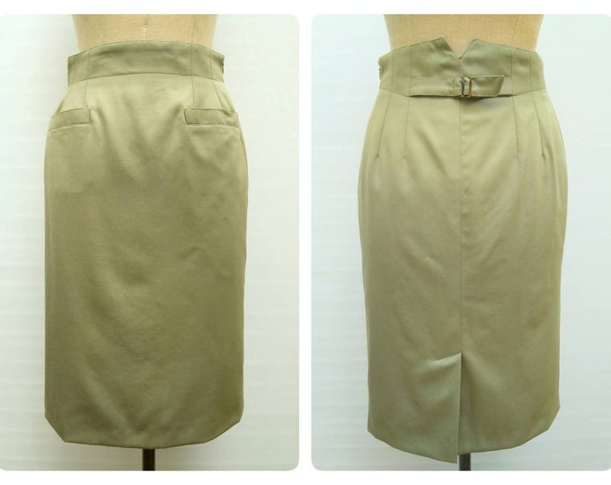 GEORGES RECH SYNONYME vintage 80s khaki green high waist pocketed pencil skirt