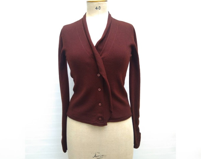 KENZO PARIS vintage 90s maroon brown wool cardigan sweater