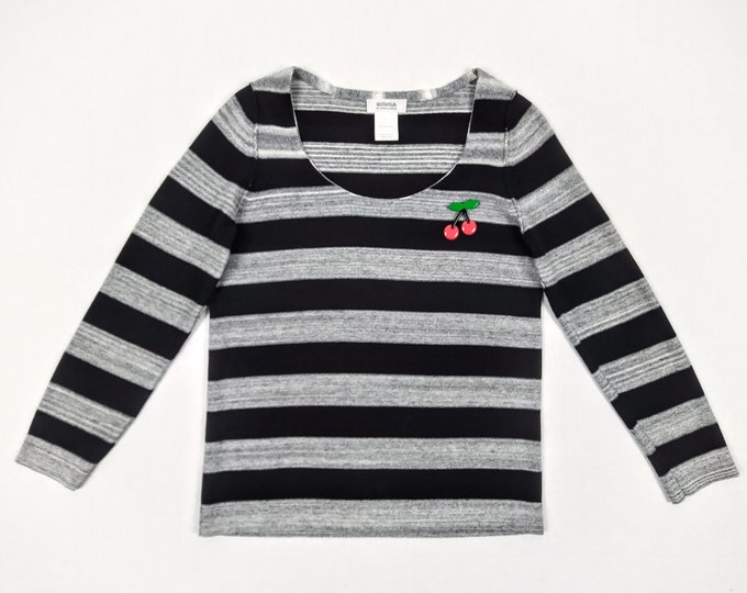 SONIA by SONIA RYKIEL pre-owned grey black striped cotton sweater with cherry brooche