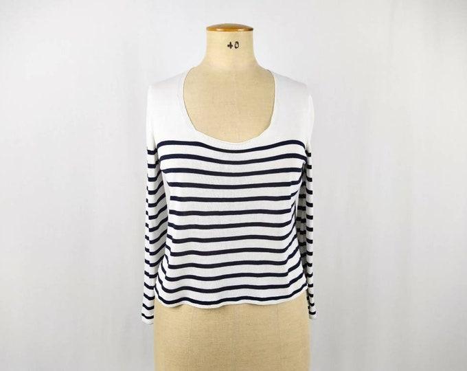 JEAN PAUL GAULTIER vintage 90s fine knit striped cropped sweater
