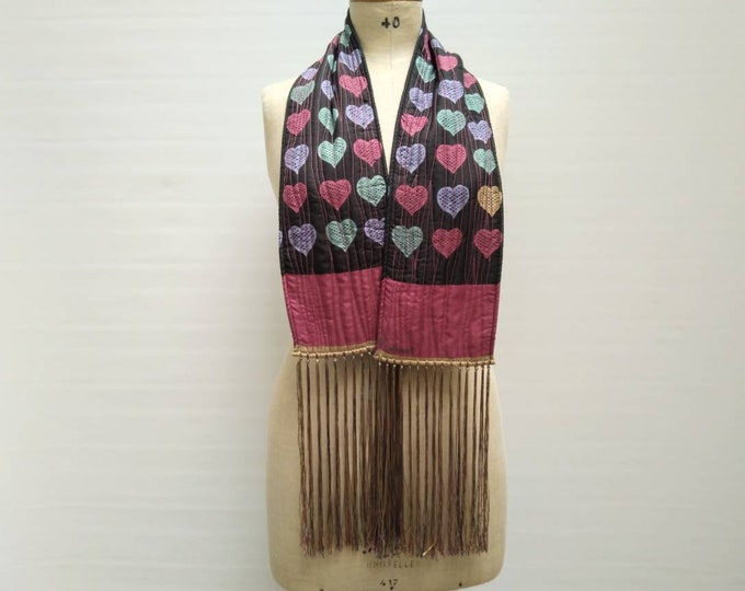 CACHAREL vintage 90s double sided quilted heart print scarf
