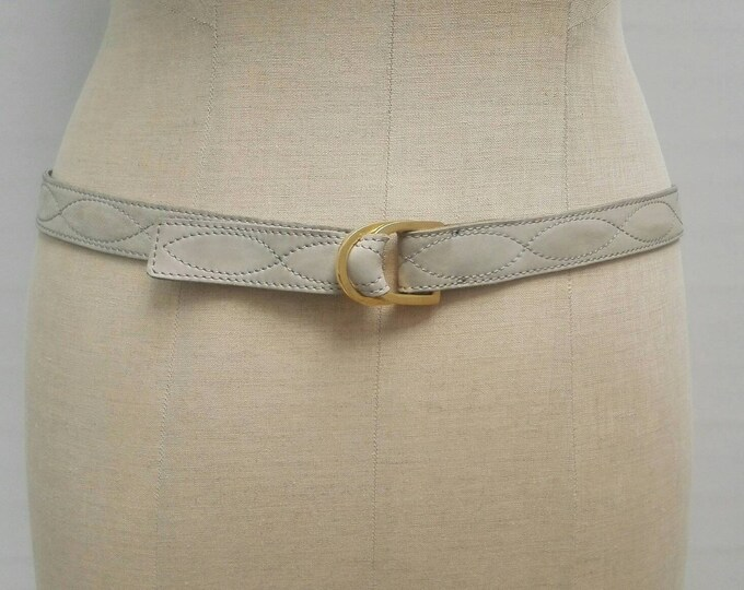 YVES SAINT LAURENT vintage pale grey-blue stitched nubuck belt