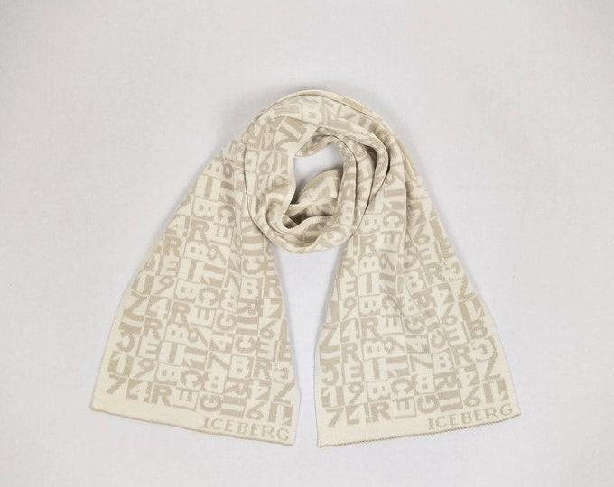 ICEBERG pre-owned men's beige/ecru ABC pattern knit scarf