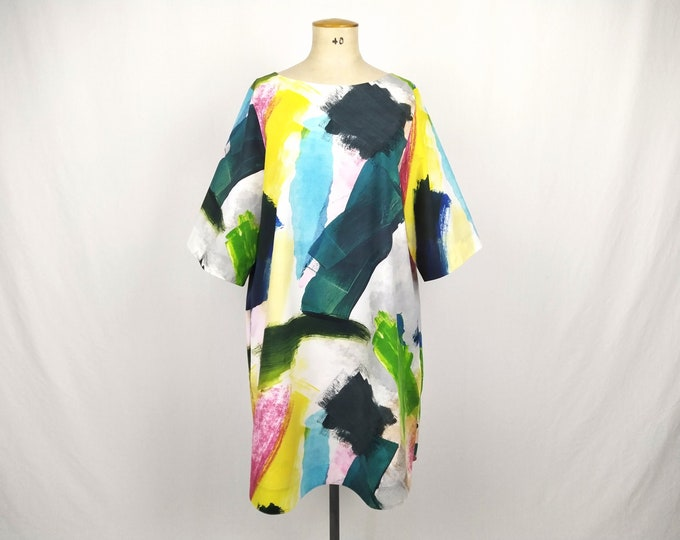 COS pre-owned multicolor brush stroke print tent dress