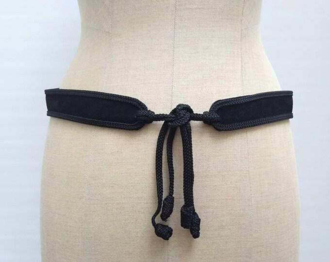 RODIER PARIS vintage 70s black suede and passementaire belt