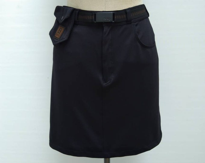 FENDI JEANS vintage 90s black skirt with monogram zucca belt and pouch