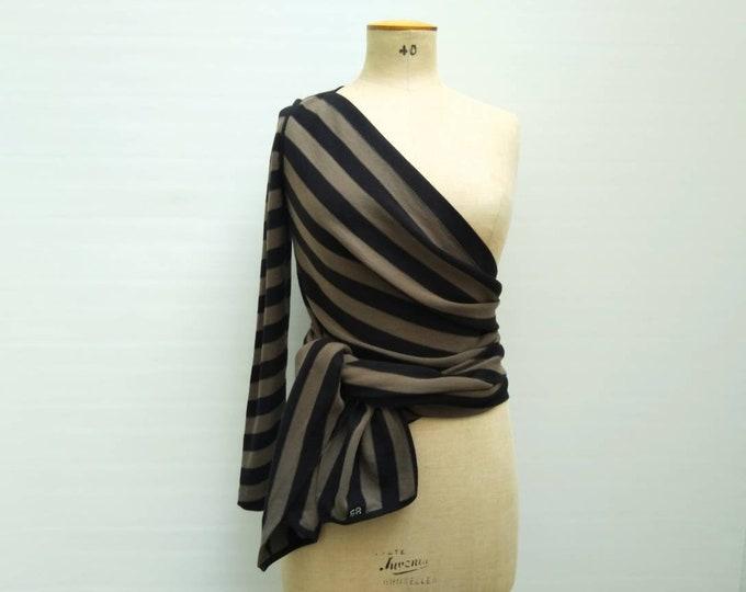 SONIA RYKIEL vintage khaki and black striped one sleeve knit cardigan