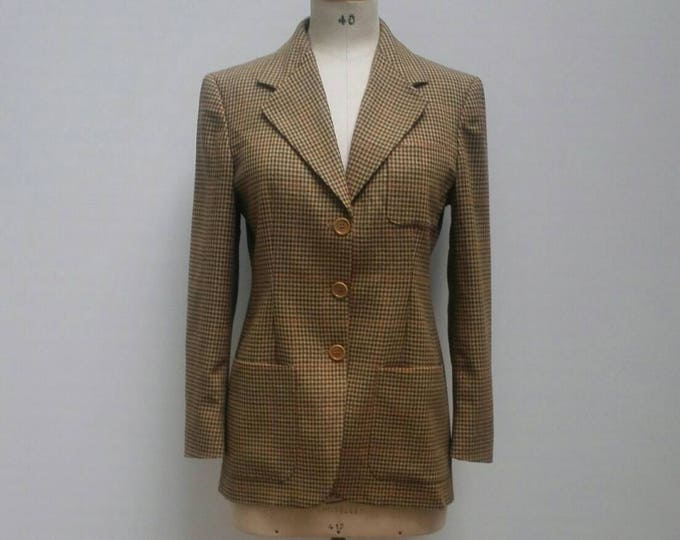 MAX MARA vintage 90s brown houndstooth wool jacket