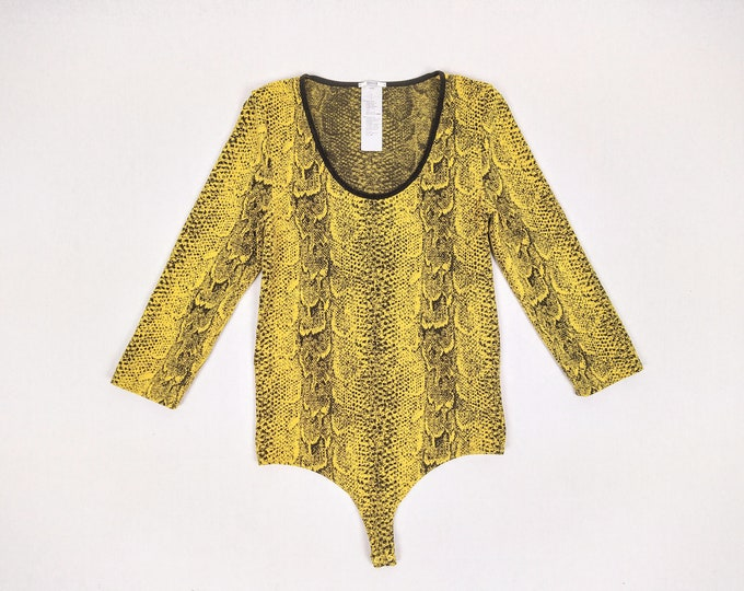 WOLFORD pre-owned yellow snake pattern string bodysuit