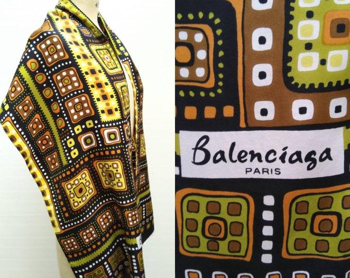 BALENCIAGA vintage 60s geometric print silk scarf